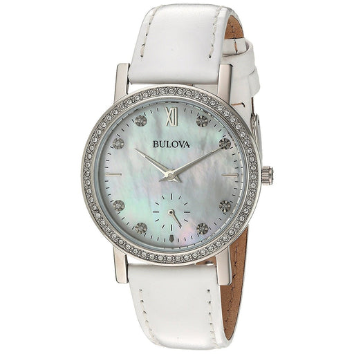 Bulova Women's 96L245 Crystal Crystal White Leather Watch