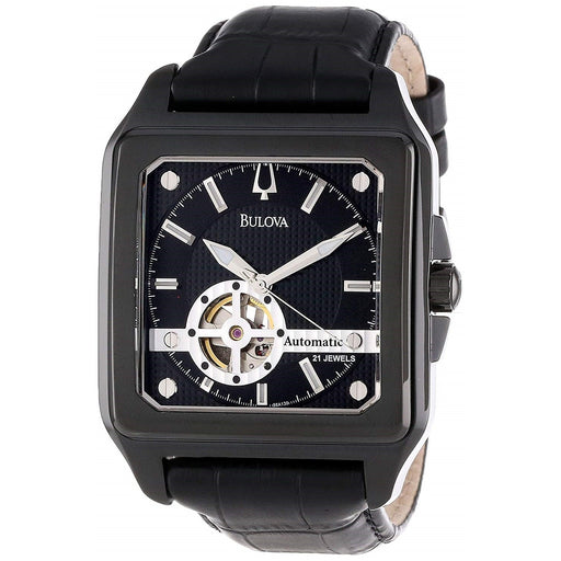 Bulova Men's 98A130 Series 160 Automatic Black Leather Watch