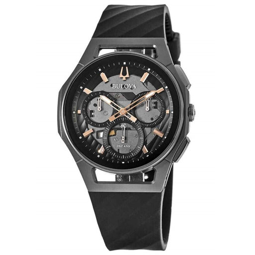 Bulova Men's 98A162 Curv Chronograph Black Rubber Watch