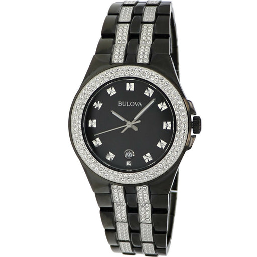 Bulova Men's 98B251 Crystal Black Stainless Steel with Sets of Crystal Watch