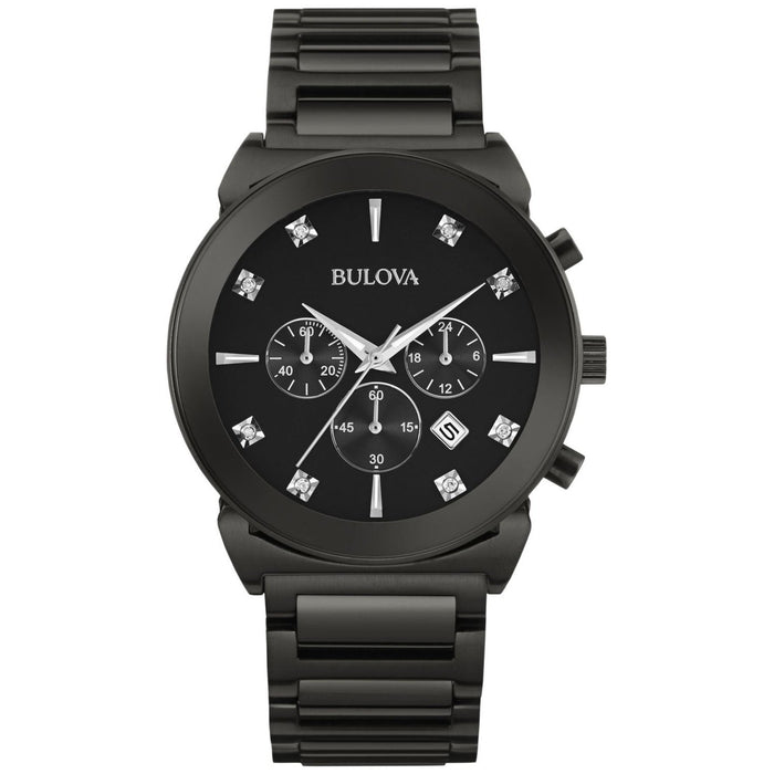 Bulova Men's 98D123 Chronograph Diamond Black Stainless Steel Watch
