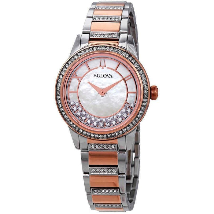 Bulova Women's 98L246 Turnstyle Crystal Set Two-Tone Stainless Steel with Sets of Crystal Watch