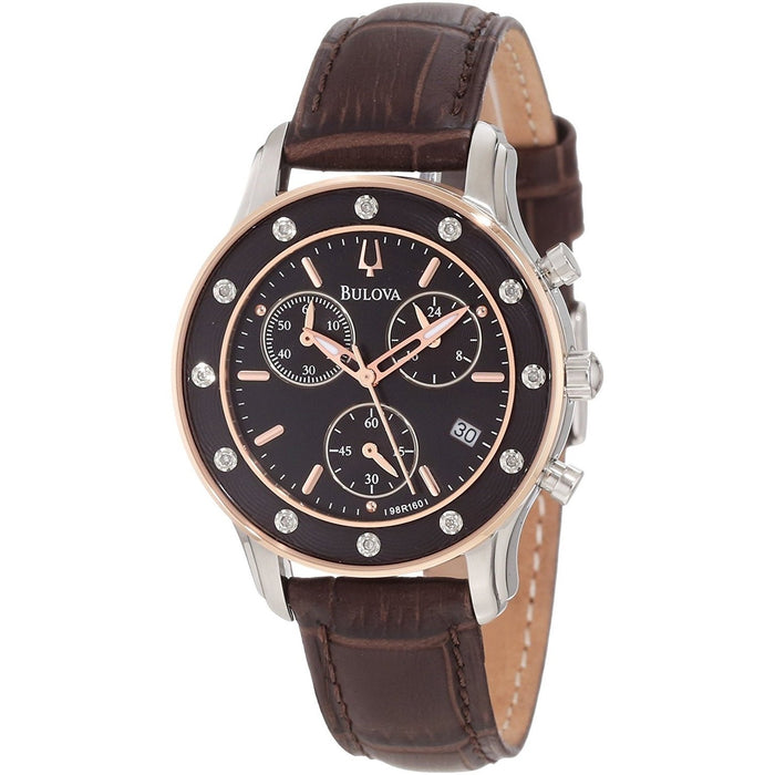Bulova Women's 98R160 Chronograph Crystal Brown Leather Watch