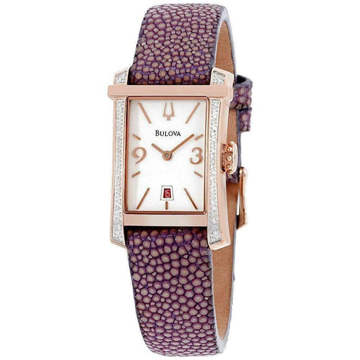 Bulova Women's 98R197 Diamond Purple Leather Watch