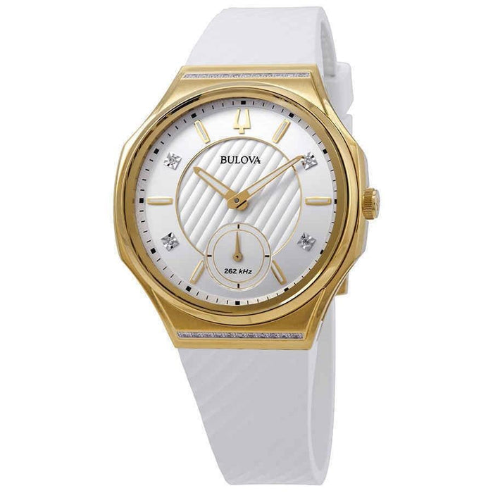 Bulova Women's 98R237 Curv White Rubber Watch