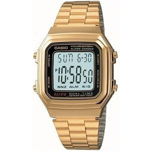 Casio Men's A-178WGA-1A Digital Gold-Tone Stainless Steel Watch