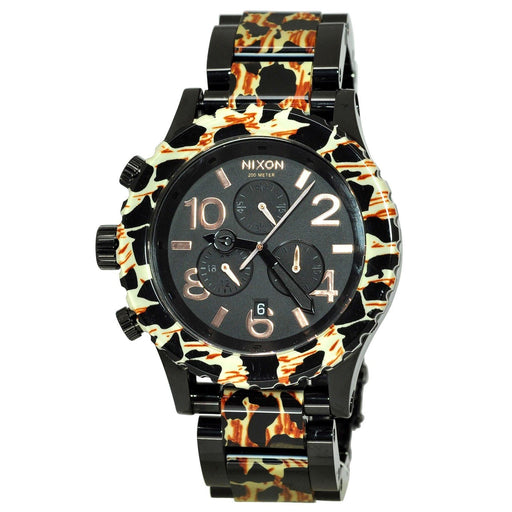 Nixon Unisex A037-1153 42-20 Chrono Chronograph Black with Leopard center links Stainless Steel and Acetate Watch