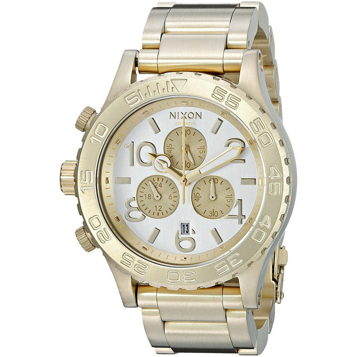 Nixon Men's A037-1219 42-20 Chronograph Gold-Tone Silicone Watch