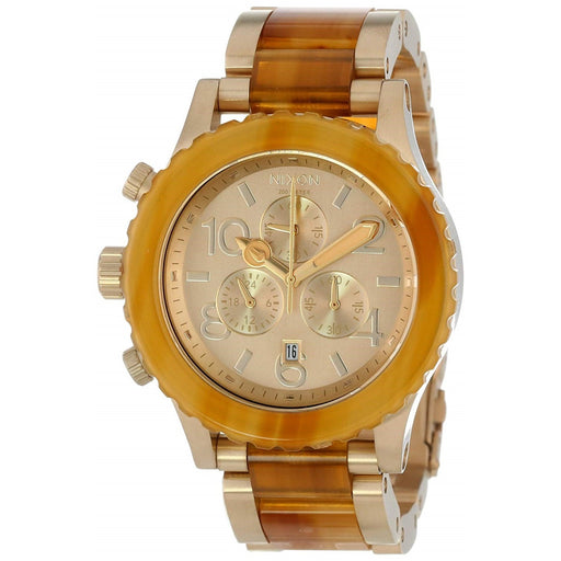 Nixon Unisex A037-1423 42-20 Chrono Chronograph Gold-Tone Stainless Steel with Acetate center links Watch