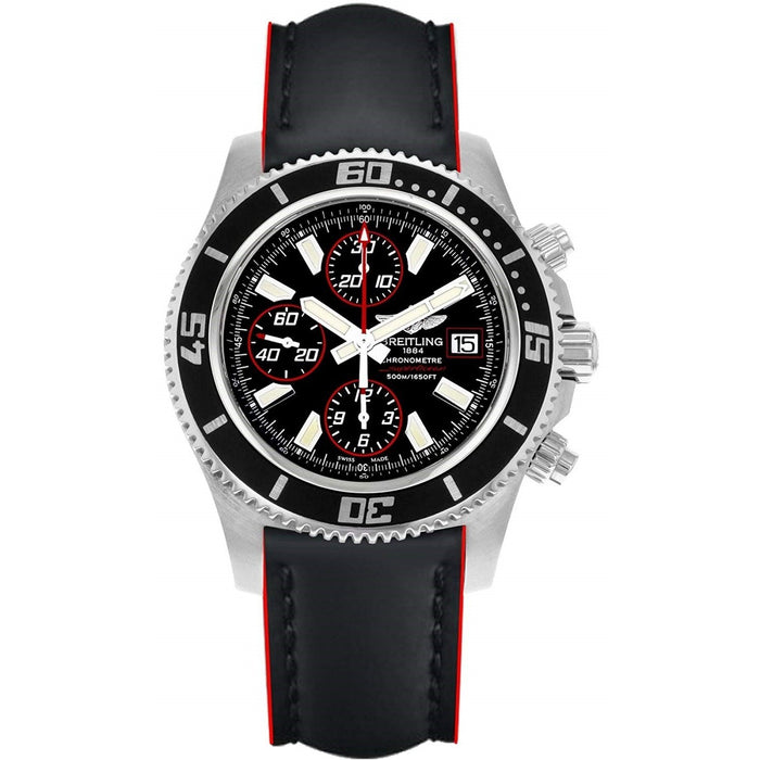 Breitling Men's A1334102-BA81-228X Superocean II 44 Chronograph Automatic Black Leather Watch