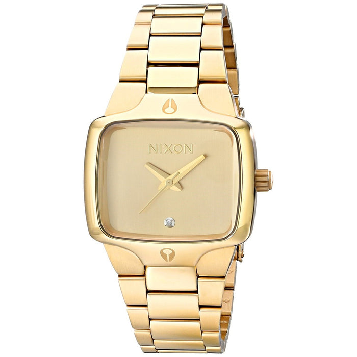 Nixon Women's A300-511 Small Player Diamond Gold-Tone Stainless Steel Watch