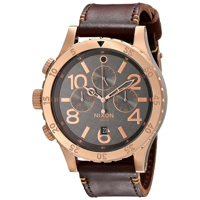 Nixon Men's A363-2001 48-20 Chronograph Brown Leather Watch