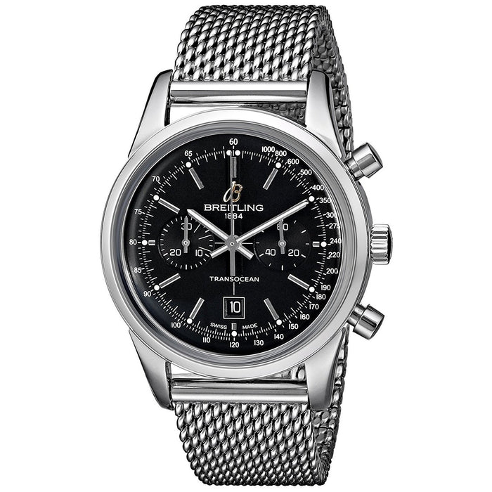 Breitling Men's A4131012-BC06 Transocean 38 Automatic Chronograph Stainless Steel Watch