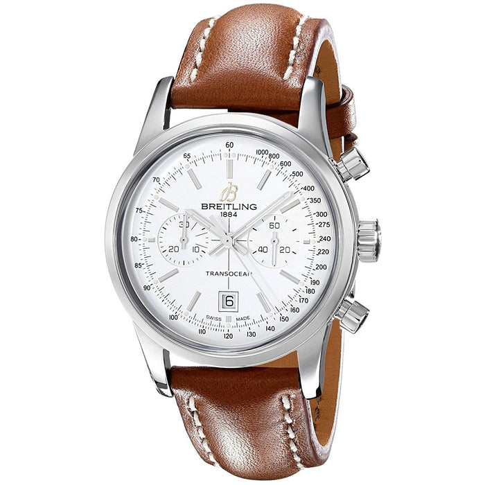 Breitling Men's A4131012-G757LS Transocean 38 Automatic Chronograph Brown Leather Watch