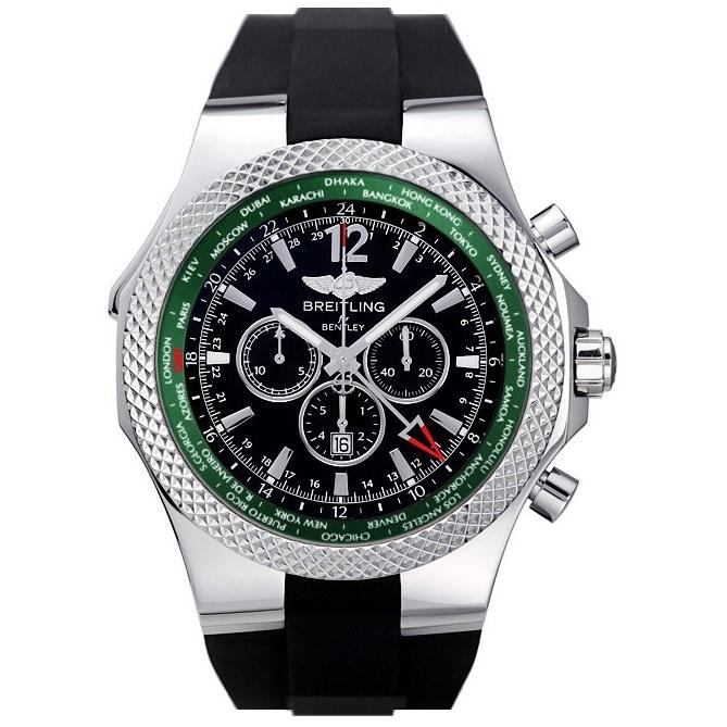 Breitling Men's A47362S4-B919-B Bentley GMT Automatic Chronograph Black Rubber Watch