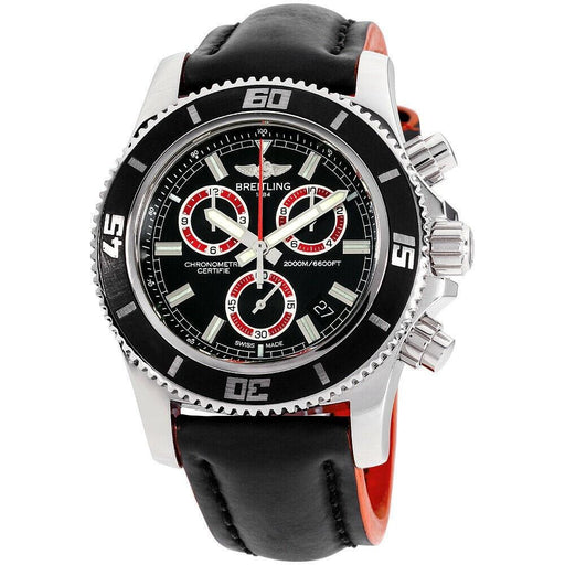 Breitling Men's A73310A8-BB72-233X Superocean Chronograph Black Leather Watch