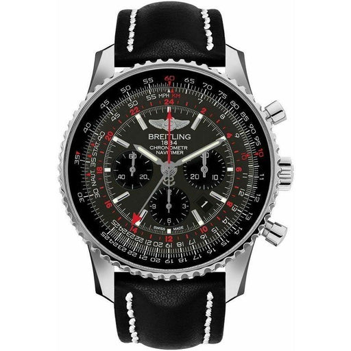 Breitling Men's AB04413A-F573-442X Navitimer GMT Chronograph Black Leather Watch