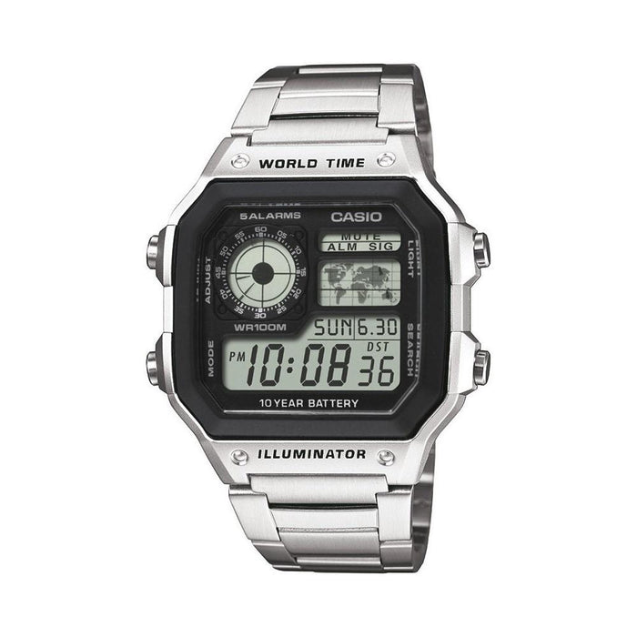 Casio Men's AE-1200WHD-1AV World Time Digital Stainless Steel Watch