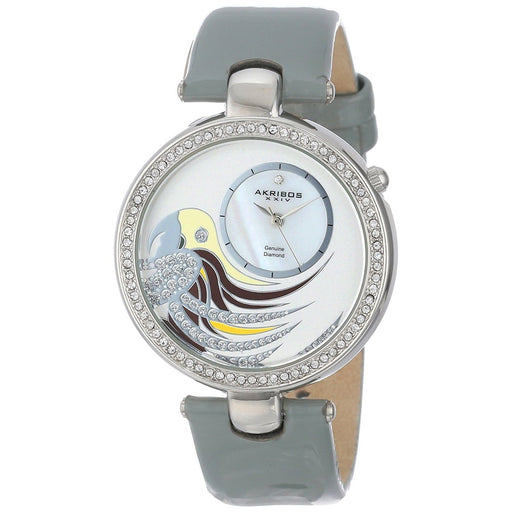 Akribos Women's AK602GY XXIV Diamond Parrot Grey Leather Watch