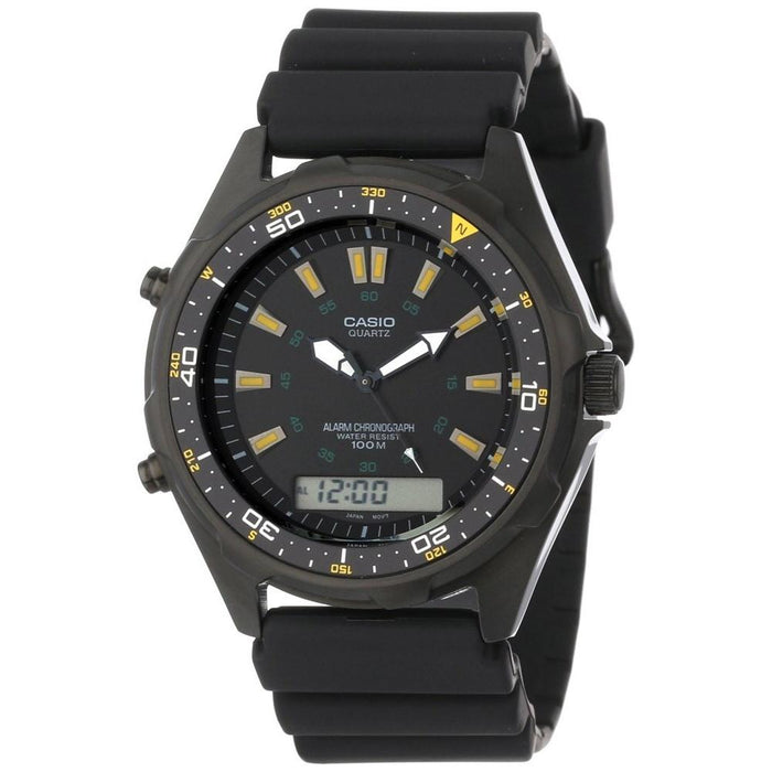 Casio Men's AMW-360B-1A1V Classic Analog-Digital Black Rubber Watch