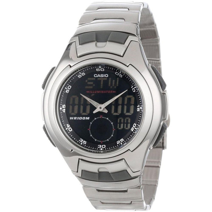 Casio Men's AQ-160WD-1BV Ana-Digi Analog-Digital Stainless Steel Watch