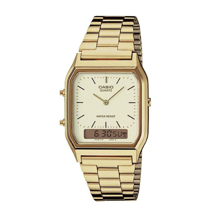 Casio Men's AQ-230GA-9D Ana-Digi Analog-Digital Gold-Tone Stainless Steel Watch