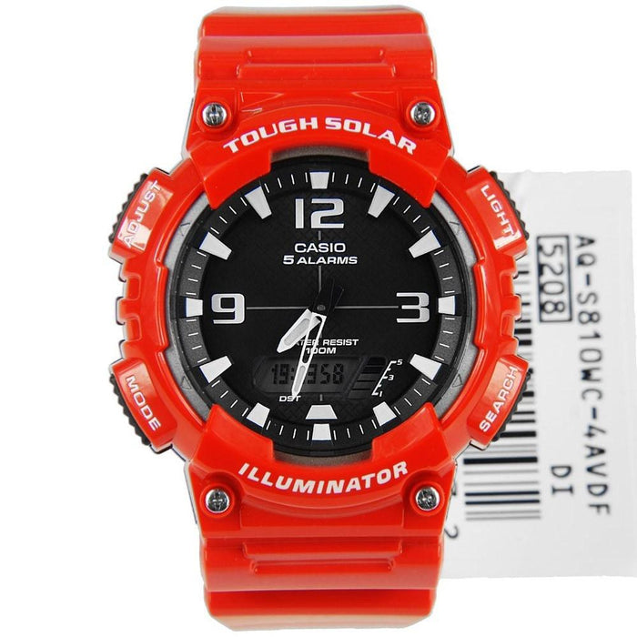 Casio Men's AQ-S810WC-4AV Ana-Digi Analog-Digital Red Rubber Watch