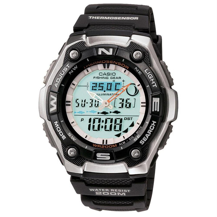 Casio Men's AQW-101-1AV Ana-Digi Analog-Digital Black Rubber Watch
