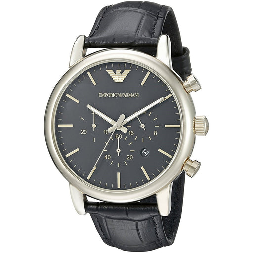 Emporio Armani Men's AR1917 Dress Chronograph Black Leather Watch