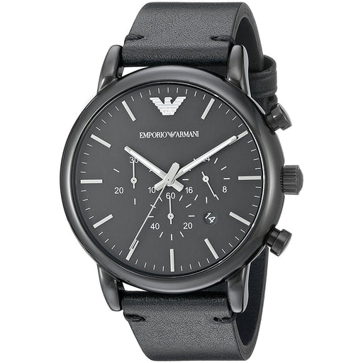 Emporio Armani Men's AR1918 Dress Chronograph Black Leather Watch