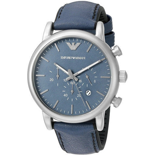 Emporio Armani Men's AR1969 Luigi Chronograph Blue Leather Watch