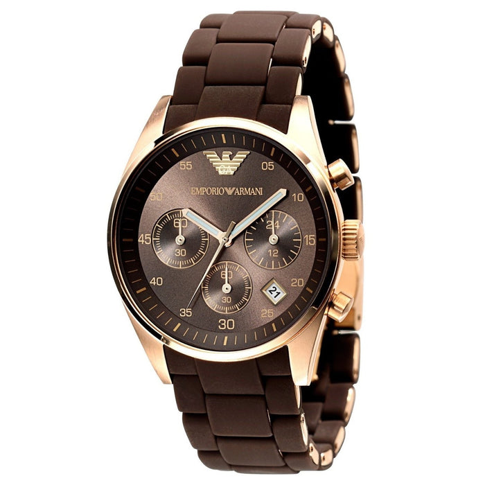 Emporio Armani Men's AR5891 Sportivo Chronograph Brown Silicone Watch