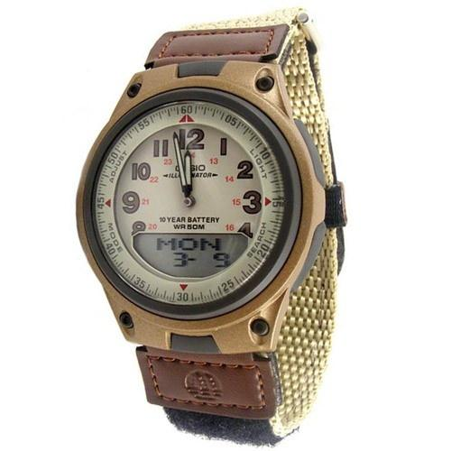Casio Men's AW-80V-5BV World Time Analog-Digital Brown Cloth Watch
