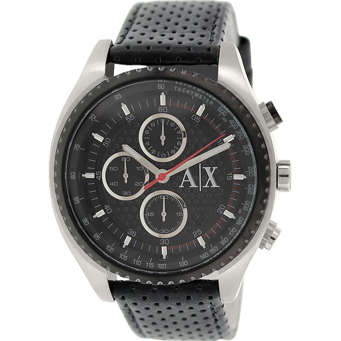 Armani Exchange Men's AX1600 Classic Chronograph Black Leather Watch