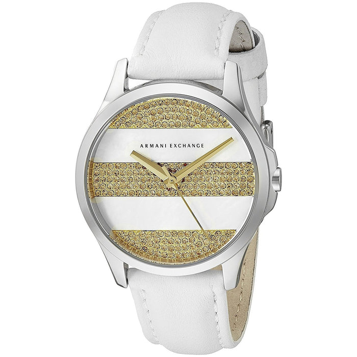 Armani Exchange Women's AX5240 Smart Crystal White Leather Watch