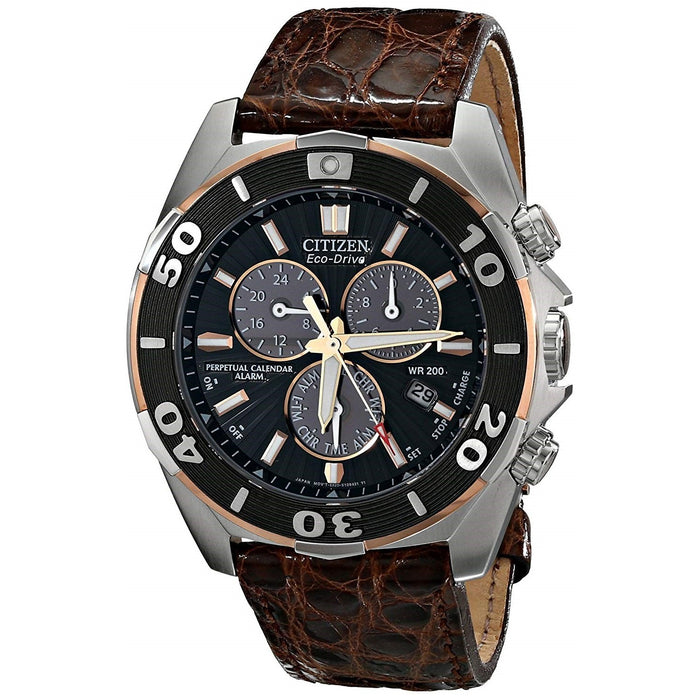 Citizen Men's BL5446-01E The Signature Collection Chronograph Brown Leather Watch
