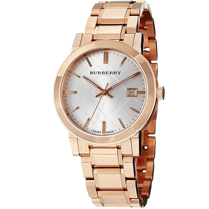 Burberry Unisex BU9004 Large Check Rose-Tone Stainless Steel Watch