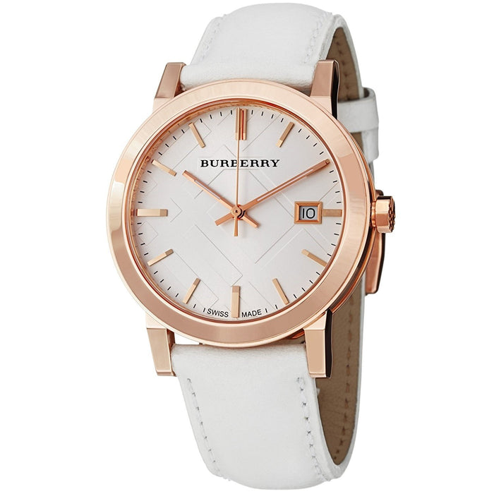 Burberry Unisex BU9012 Large Check White Leather Watch