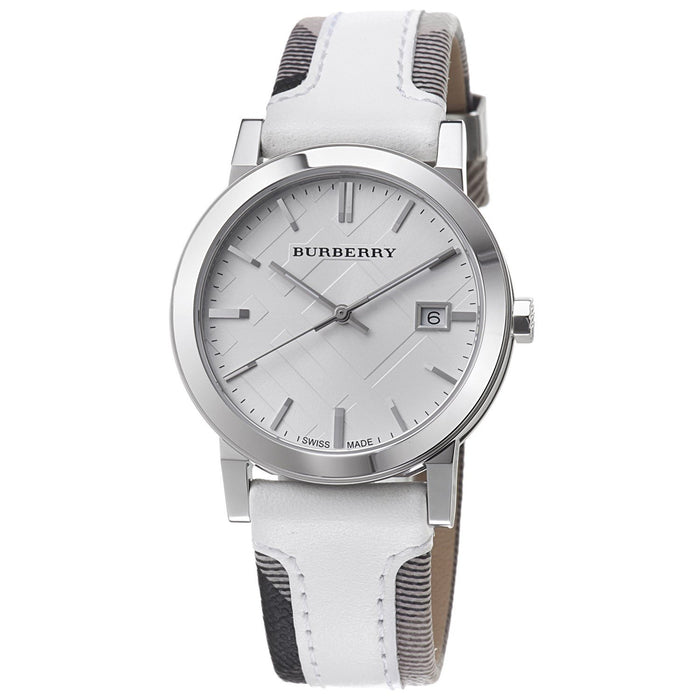 Burberry Unisex BU9019 Large Check Grey and White Fabric and Leather Watch