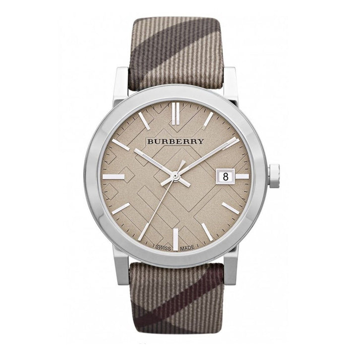 Burberry Unisex BU9023 Large Check Grey Fabric and Leather Watch