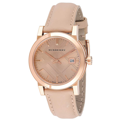 Burberry Women's BU9109 The City Check Nude Leather Watch