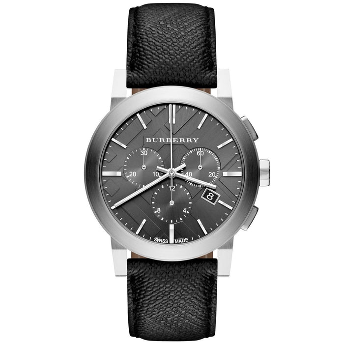 Burberry Unisex BU9359 Beat Check Chronograph Black Leather Watch