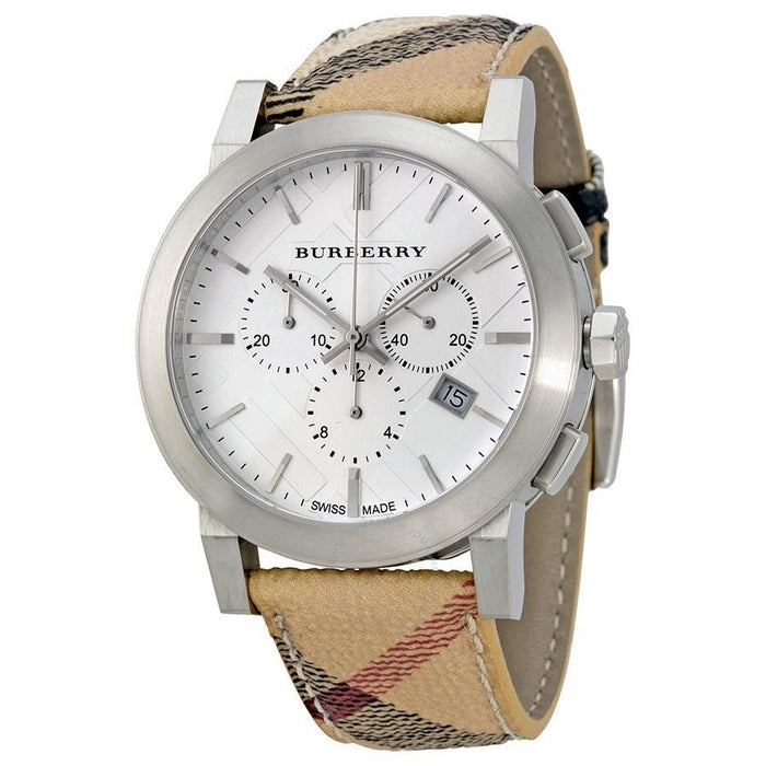 Burberry Unisex BU9360 The City Chronograph Beige Fabric and Leather Watch