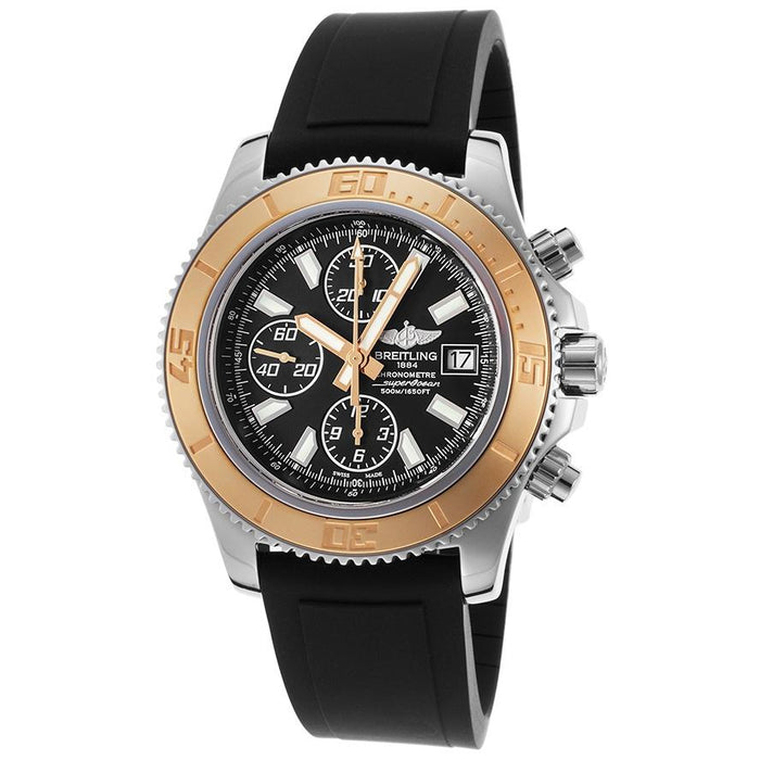 Breitling Men's C1334112-BA84RU Superocean 18k Rose Gold Chronograph Automatic Black Rubber Watch