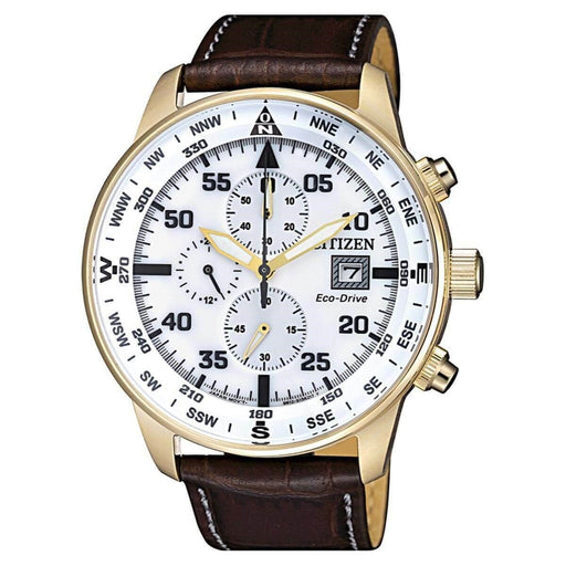 Citizen Men's CA0693-12A Eco-Drive Chronograph Brown Leather Watch