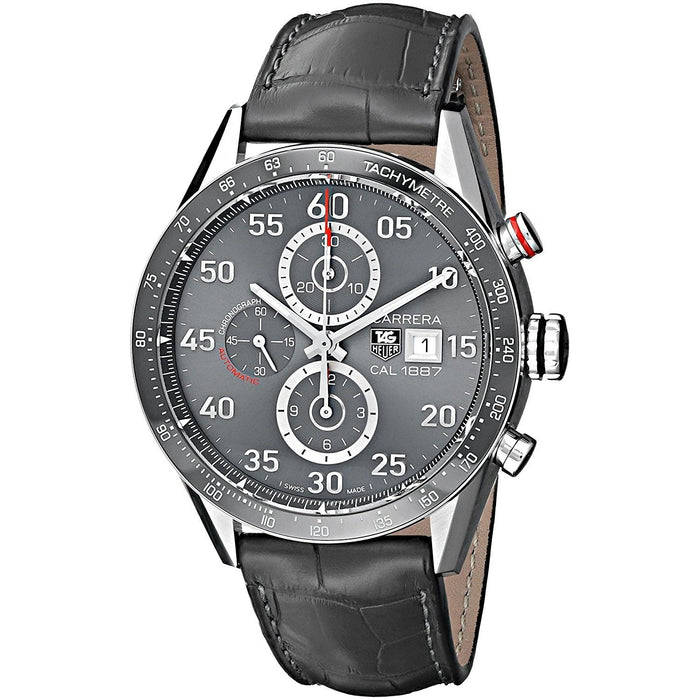Tag Heuer Men's CAR2A11.FC6313 Carrera Chronograph Automatic Grey Leather Watch