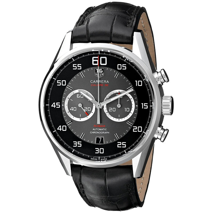 Tag Heuer Men's CAR2B10.FC6235 Carrera Chronograph Automatic Black Leather Watch