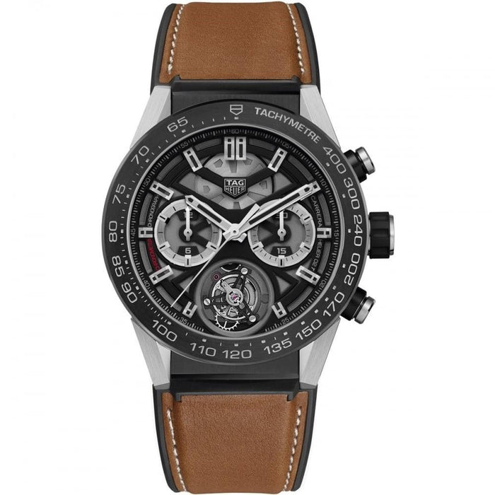 Tag Heuer Men's CAR5A8Y.FT6072 Carrera Chronograph Automatic Brown Rubber and alligator leather Watch