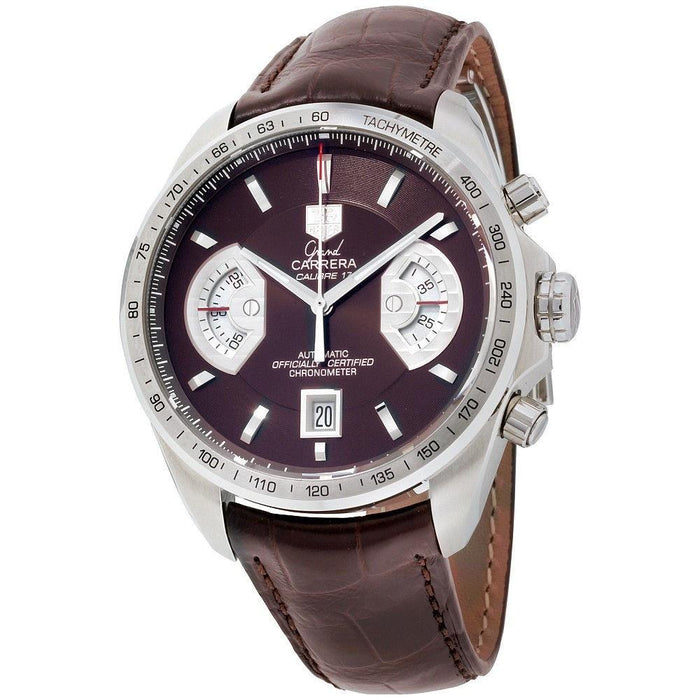 Tag Heuer Men's CAV511E.FC6231 Grand Carrera Chronograph Automatic Brown Leather Watch