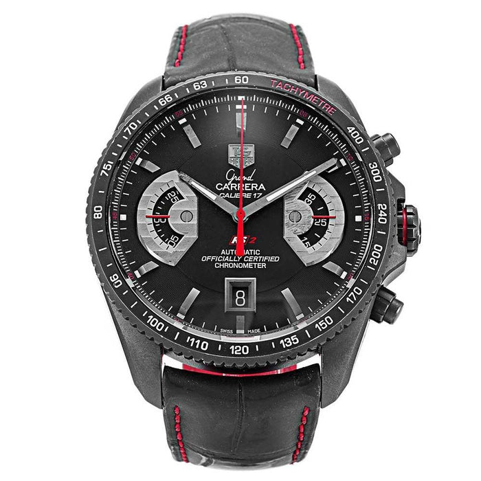 Tag Heuer Men's CAV518B.FC6237 Grand Carrera Chronometer Automatic Black Leather Watch